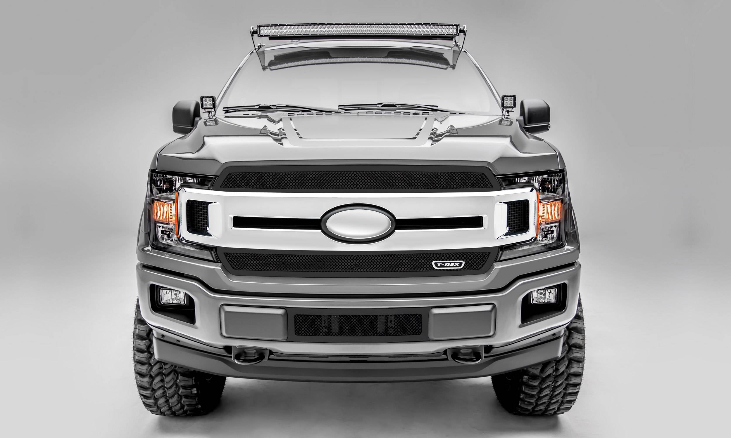T-REX Grilles - 2018-2020 F-150 XLT, Lariat Upper Class Series Main Grille, Black, 2 Pc, Overlay/Insert, Does Not Fit Vehicles with Camera - PN #51711