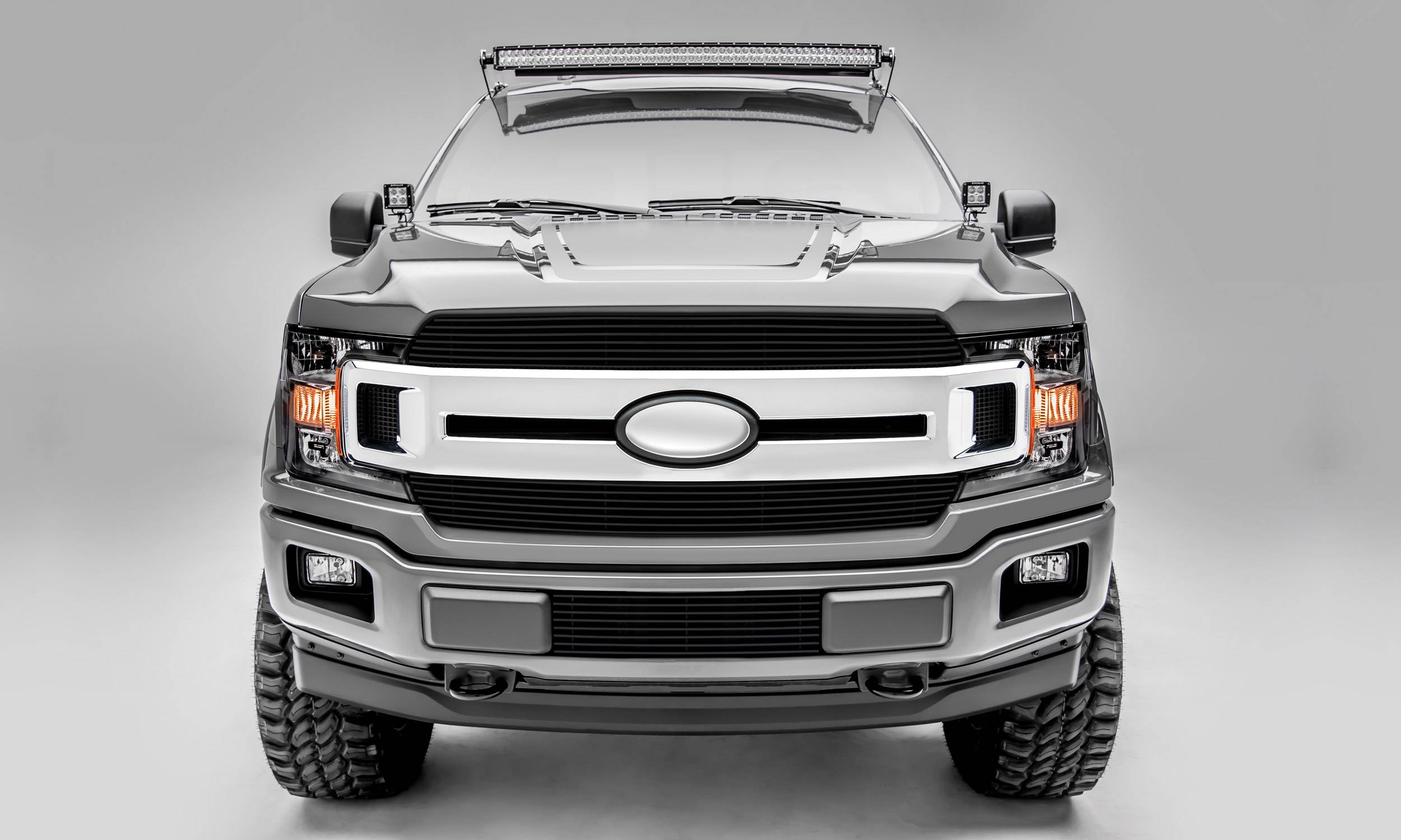 T-REX Grilles - 2018-2020 F-150 XLT, Lariat Billet Grille, Black, 2 Pc, Insert, Does Not Fit Vehicles with Camera - PN #20571B
