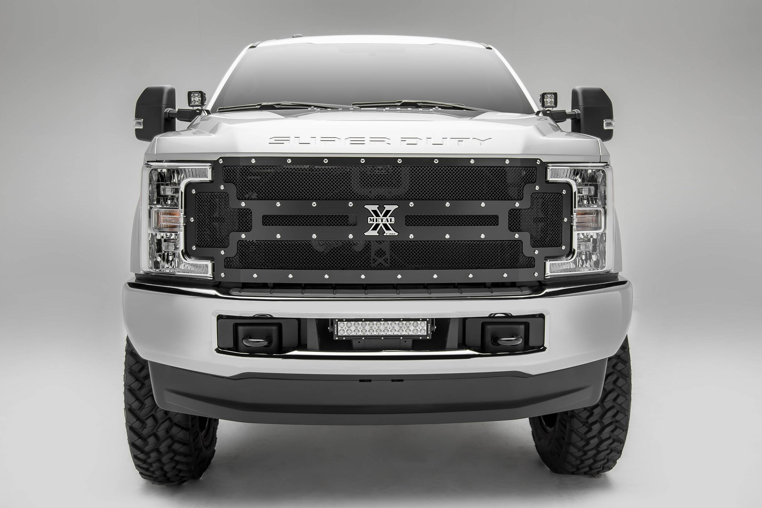 T-REX Grilles - 2017-2019 Super Duty X-Metal Grille, Black, 1 Pc, Replacement, Chrome Studs, Does Not Fit Vehicles with Camera - PN #6715471