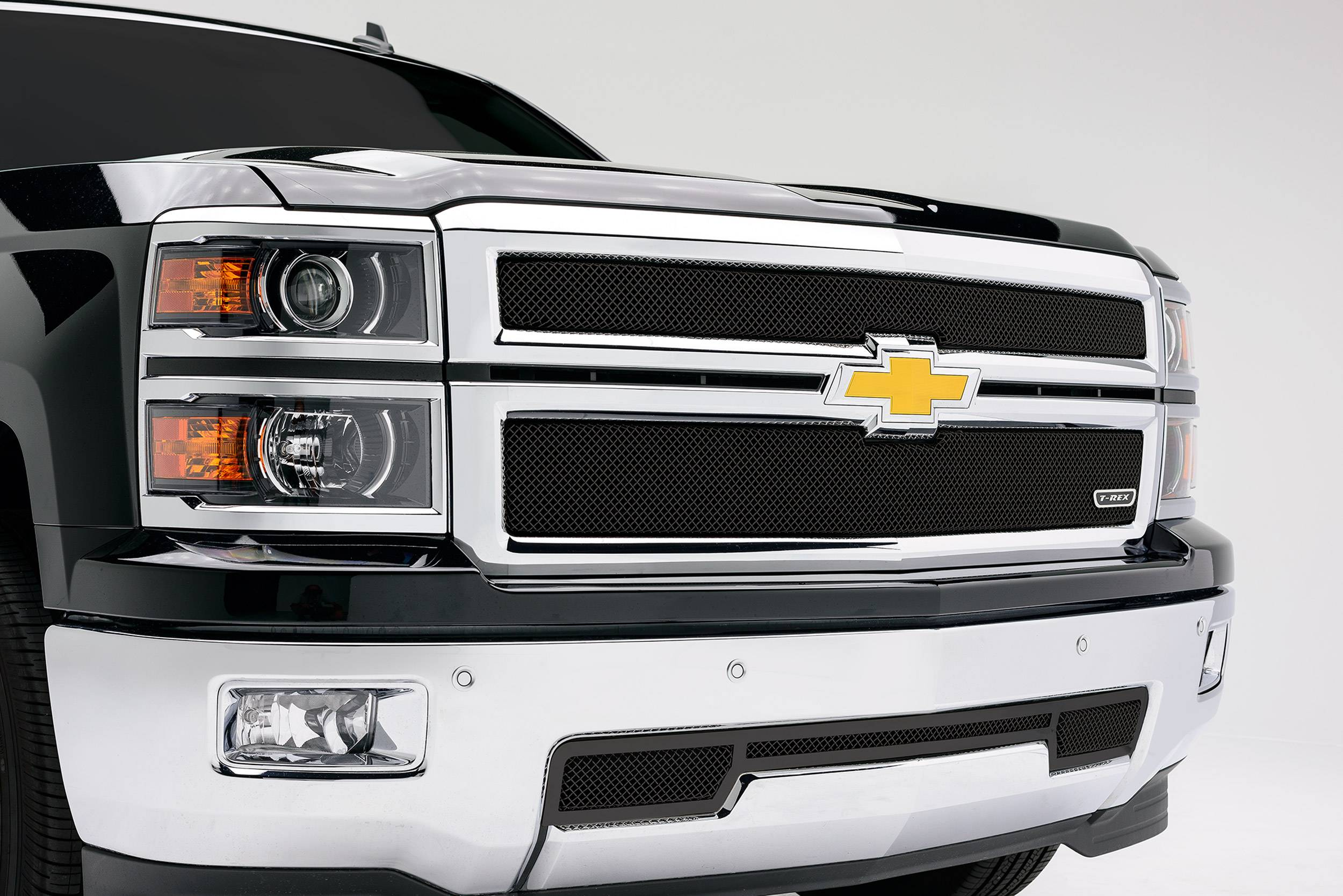 T-REX Grilles - 2014-2015 Silverado 1500 Sport Grille, Black, 2 Pc, Overlay - PN #46117