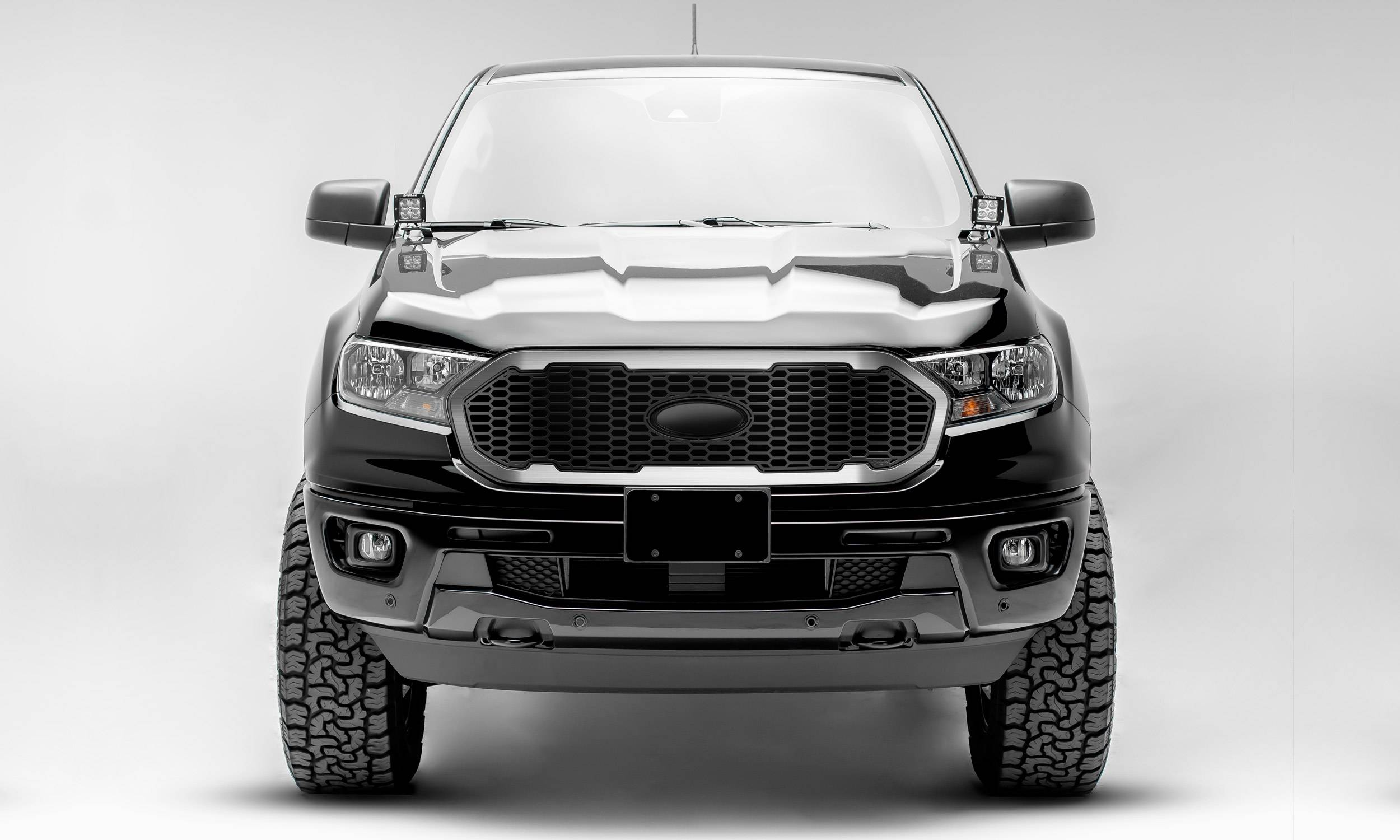 T-REX Grilles - 2019-2021 Ford Ranger Laser X Grille, No Studs, 1 Pc, Replacement with Trim, must reuse factory logo - PN #6315823