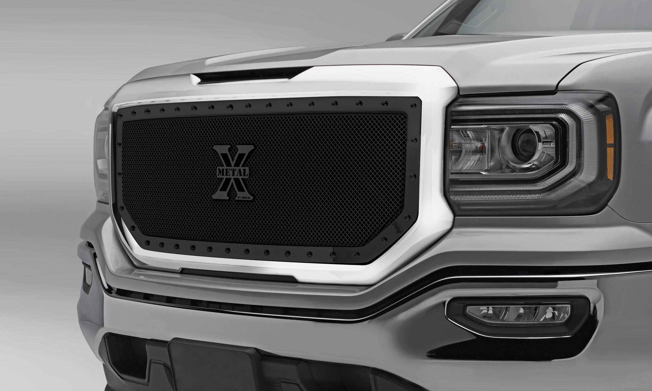 T-REX Grilles - 2016-2018 Sierra 1500 Stealth X-Metal Grille, Black, 1 Pc, Insert, Black Studs - PN #6712131-BR