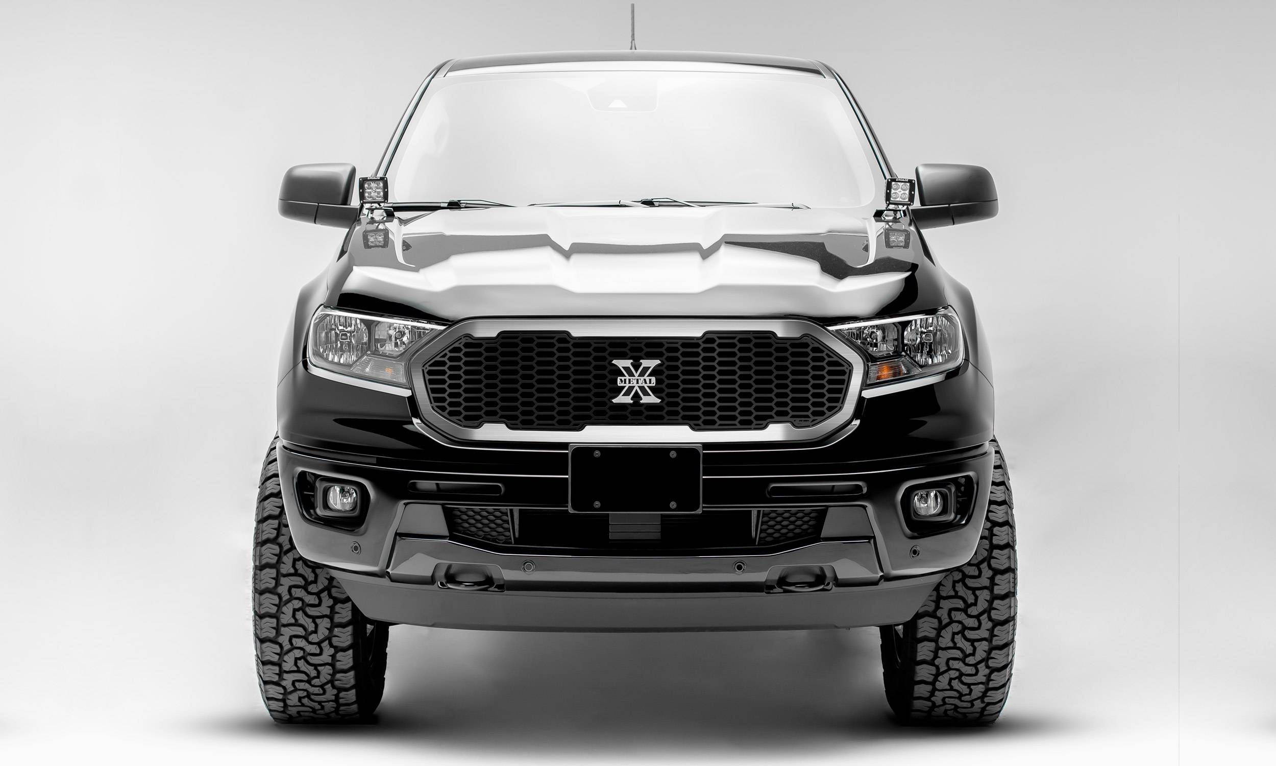 T-REX Grilles - 2019-2021 Ford Ranger Laser X Grille, No Studs, 1 Pc, Replacement with Trim and X-Metal logo - PN #6315824
