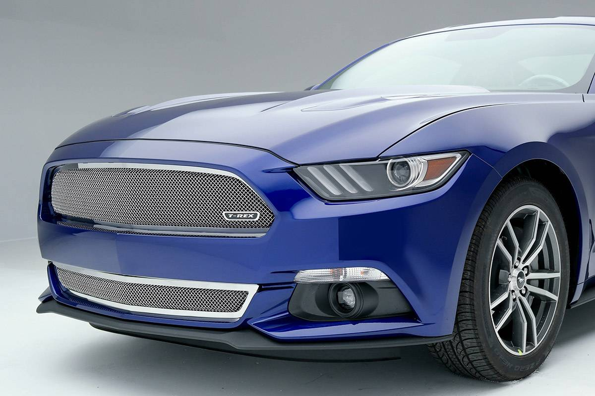 T-REX Grilles - 2015-2017 Mustang GT Upper Class Series Bumper Grille, Polished, 1 Pc, Overlay - PN #55530