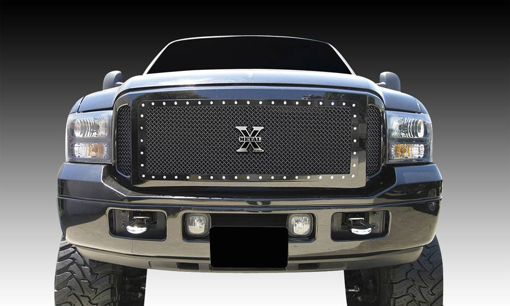 T-REX Grilles - 2005-2007 Super Duty, Excursion X-Metal Grille, Black, 3 Pc, Insert, Chrome Studs - PN #6715611