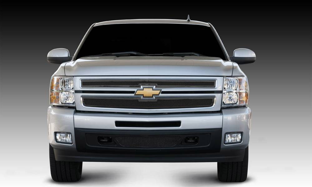 T-REX Grilles - 2007-2013 Silverado 1500 Upper Class Series Main Grille, Black, 2 Pc, Overlay - PN #51110