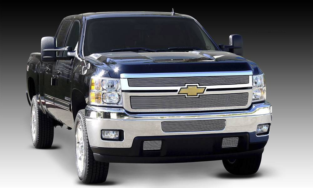 T-REX Grilles - 2011-2014 Silverado HD Billet Grille, Polished, 2 Pc, Overlay - PN #21114