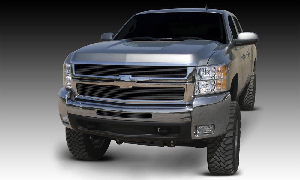 T-REX Grilles - Chevrolet Silverado HD Billet Grille Overlay/Bolt On - 2 Pc - All Black - Pt # 21112B