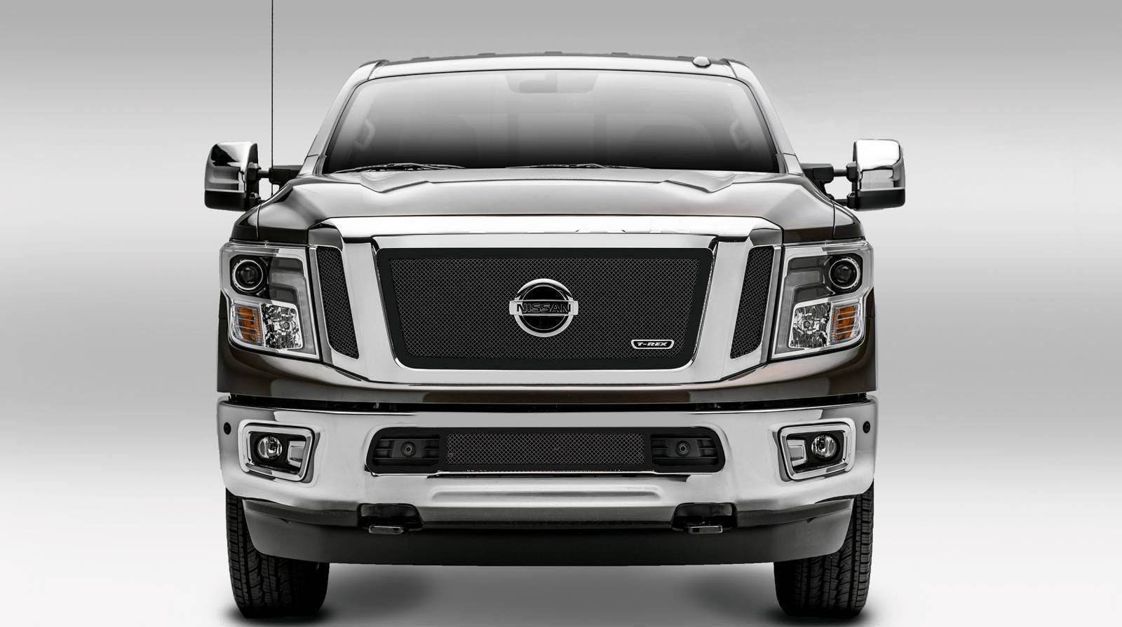 T-REX Grilles - 2016-2019 Titan Upper Class Series Main Grille, Black, 3 Pc, Insert, Fits Vehicles with Camera - PN #51785