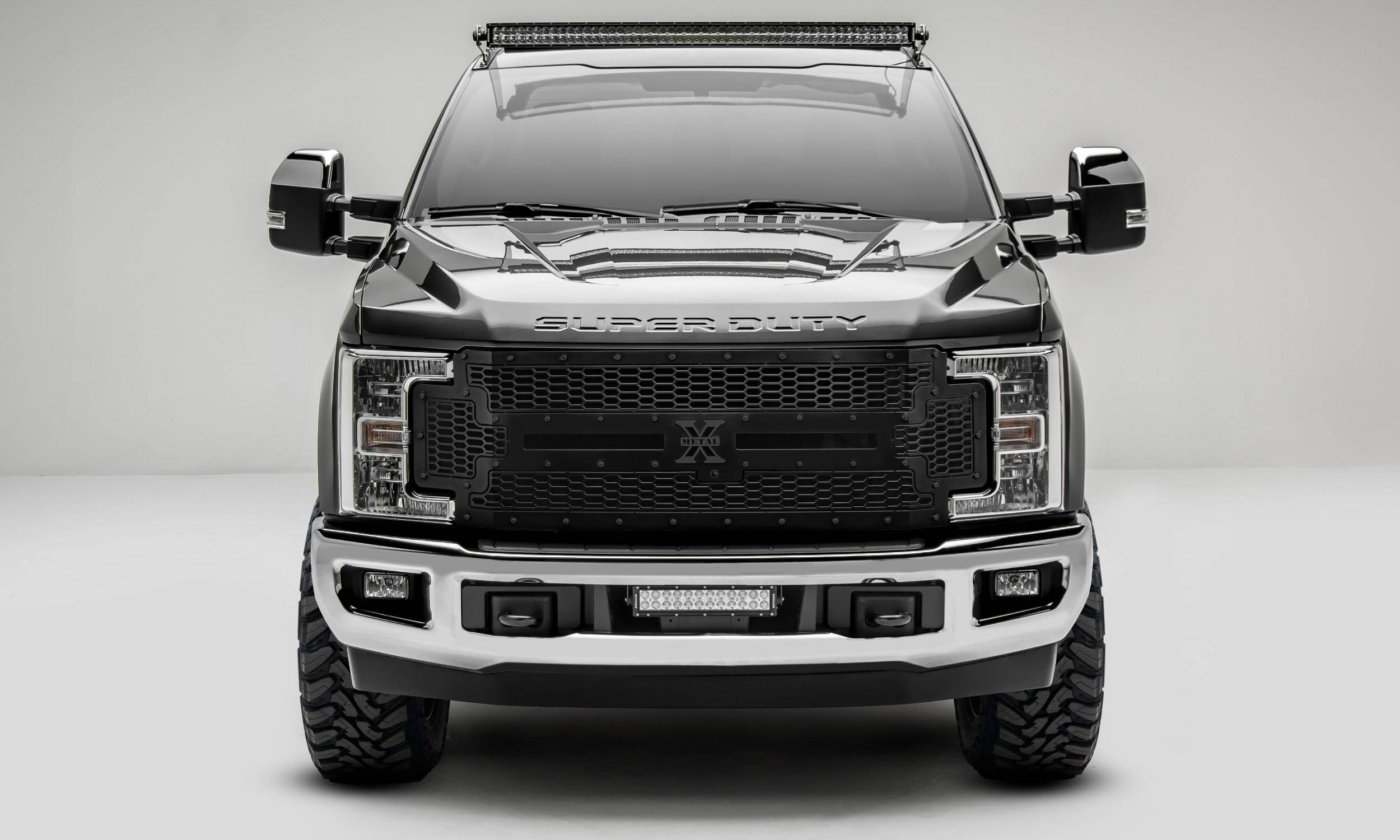 T-REX Grilles - 2017-2019 Super Duty Stealth Laser X Grille, Black, 1 Pc, Replacement, Black Studs, Fits Vehicles with Camera - PN #7715371-BR