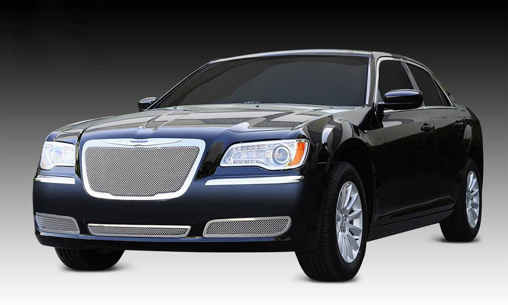 T-REX Grilles - 2011-2014 Chrysler 300 Upper Class Series Main Grille, Polished, 1 Pc, Replacement, OE Logo installs on top of grille - PN #54433