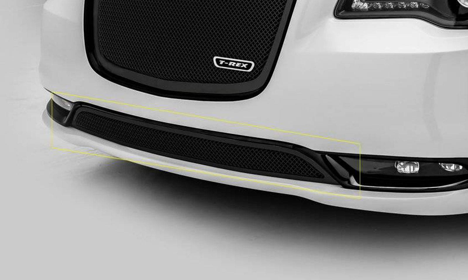 T-REX Grilles - 2015-2018 Chrysler 300 Upper Class Series Bumper Grille, Black, 1 Pc, Overlay, Only fits models without adaptive cruise control - PN #52436