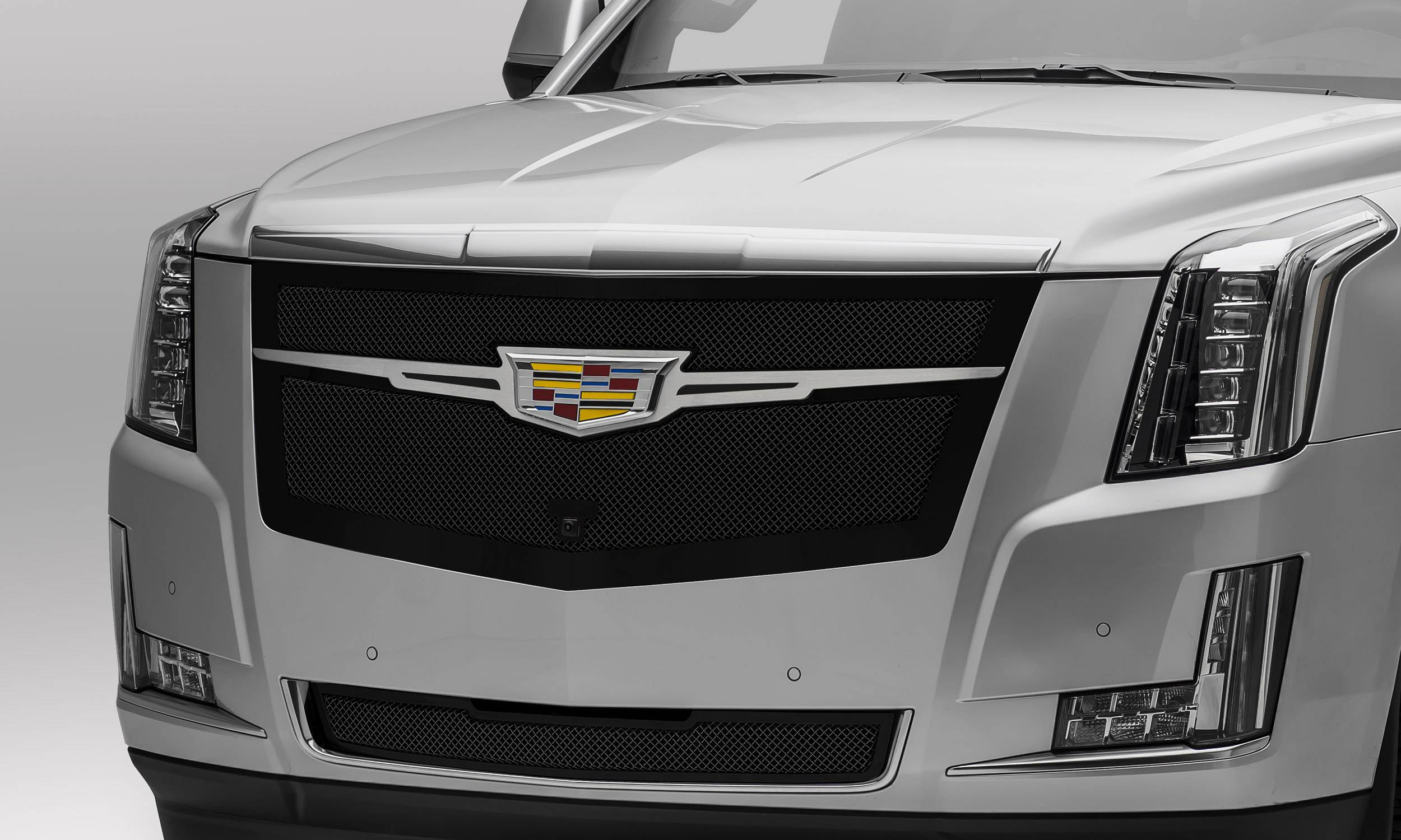 T-REX Grilles - 2015-2020 Escalade Upper Class Grille, Black with Brushed Center Trim Piece, 1 Pc, Replacement, Fits Vehicles with Camera - PN #51189