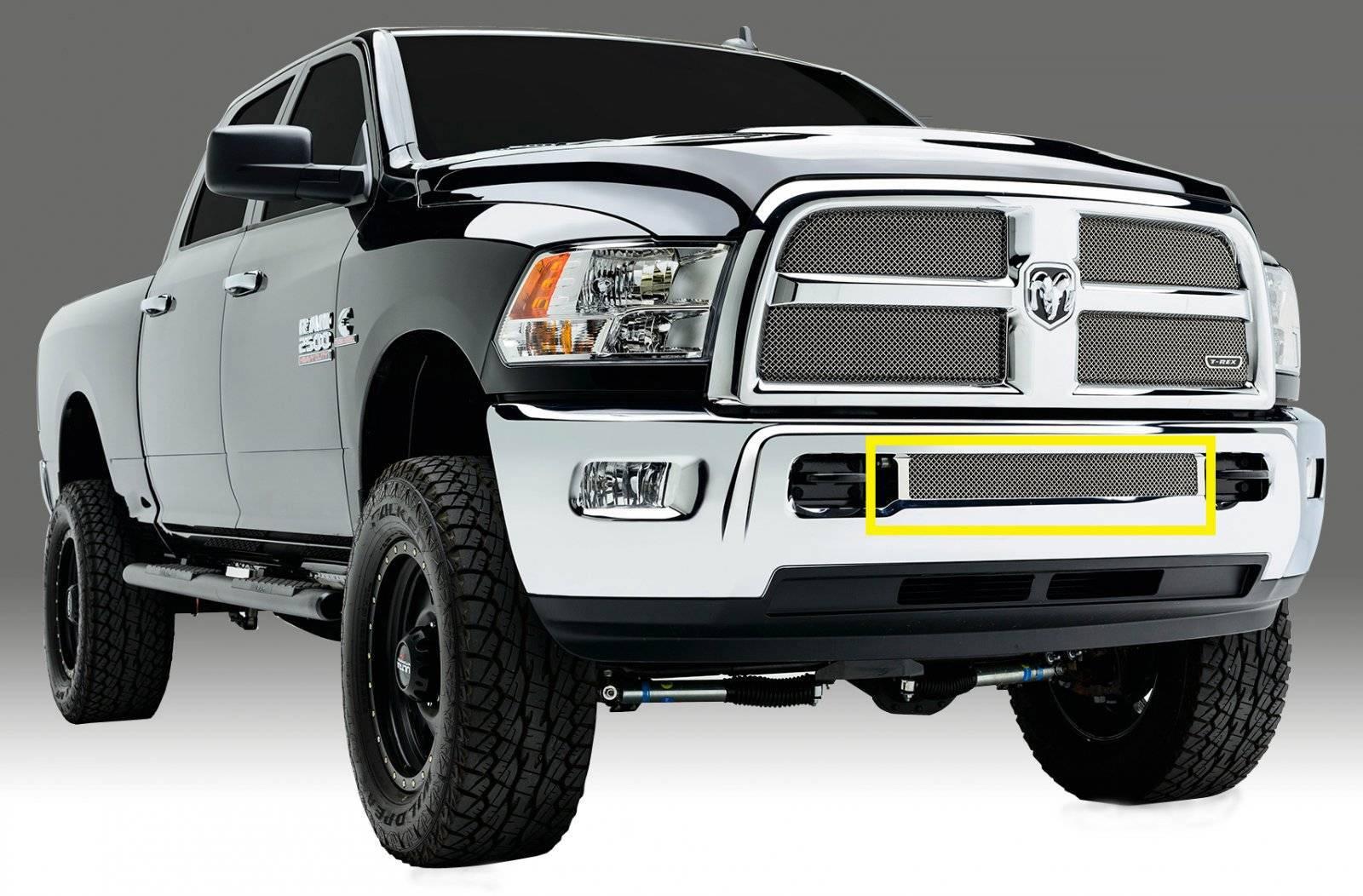 T-REX Grilles - 2013-2018 Ram 2500, 3500 Sport Bumper Grille, Chrome, 1 Pc, Replacement - PN #45452