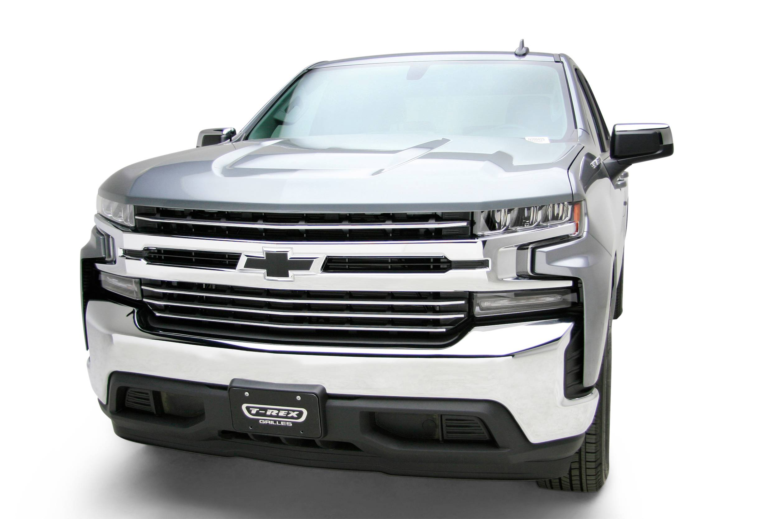 T-REX Grilles - 2019-2021 Silverado 1500 Trail Boss, RST, LT Round Billet Grille, Horizontal Round, Polished, 4 Pc, Overlay, Does Not Fit Vehicles with Camera - PN #6211232