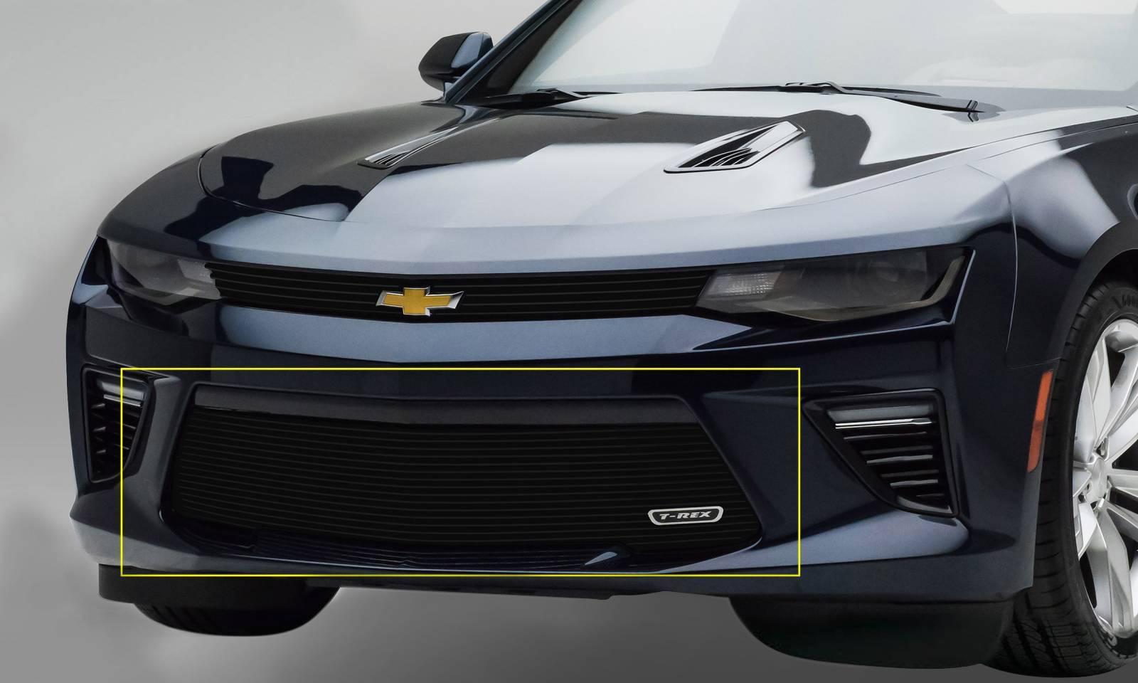 T-REX Grilles - 2016-2018 Camaro Billet Bumper Grille, Black, 1 Pc, Overlay, V6 - PN #25033B