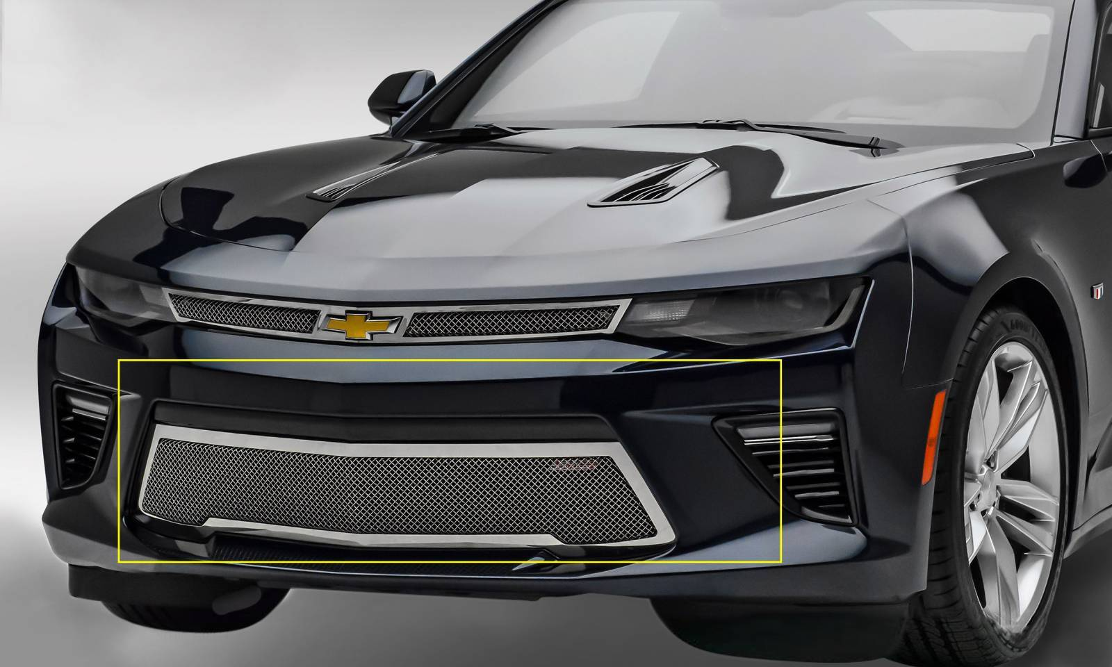 T-REX Grilles - 2016-2018 Camaro Upper Class Series Bumper Grille, Polished, 1 Pc, Overlay, V8 - PN #55036