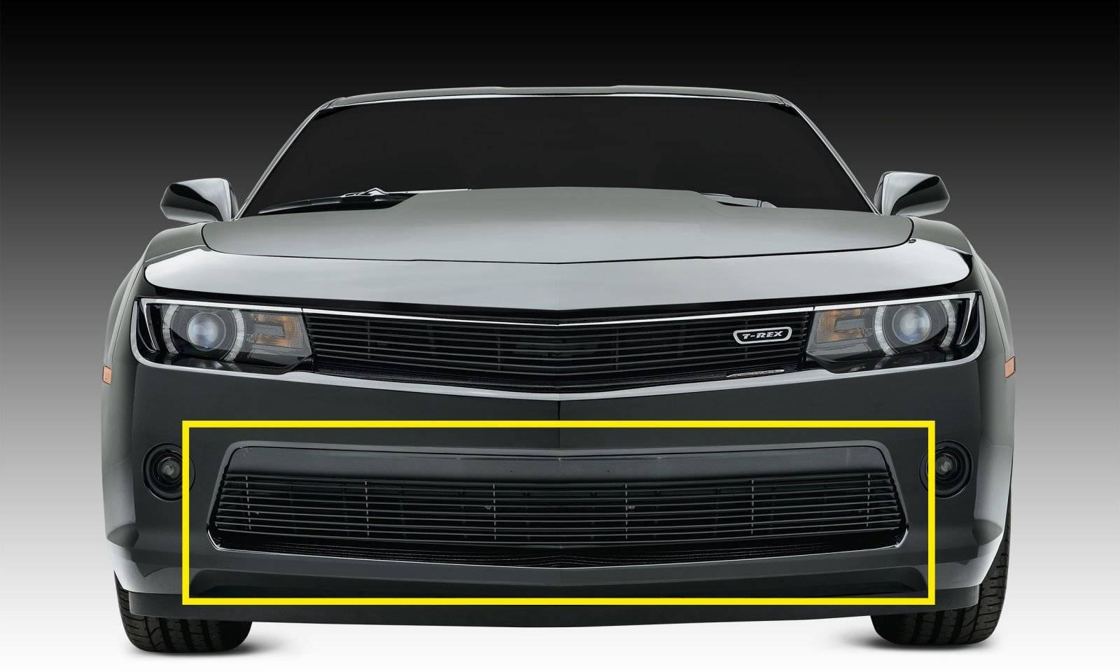 T-REX Grilles - 2014-2015 Camaro Billet Bumper Grille, Black, 1 Pc, Overlay, V6 - PN #25031B