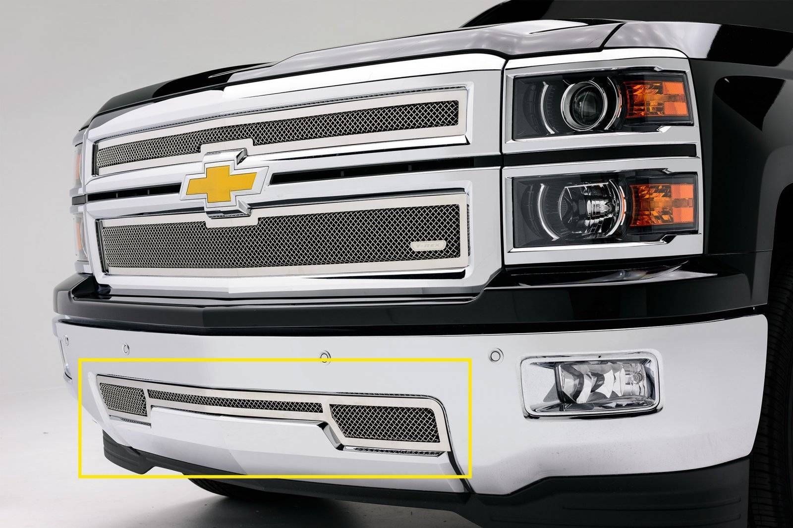 T-REX Grilles - 2014-2015 Silverado 1500 Upper Class Series Bumper Grille, Polished, 1 Pc, Overlay - PN #55117