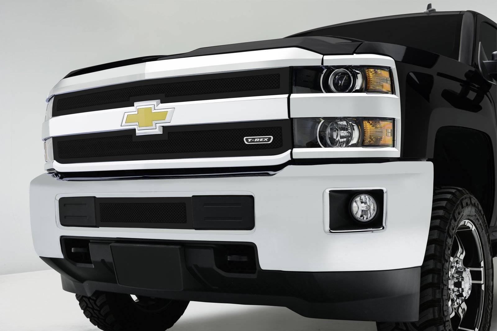 T-REX Grilles - 2015-2019 Silverado 2500, 15-17 3500 Upper Class Series Mesh Bumper Grille, Black, 1 Pc, Overlay - PN #52122