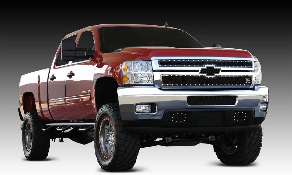 T-REX Grilles - 2011-2014 Silverado HD X-Metal Grille, Black, 2 Pc, Overlay, Chrome Studs - PN #6711141