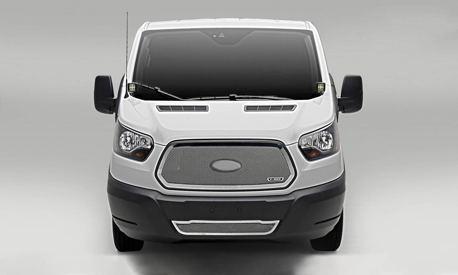 T-REX Grilles - 2016-2018 Ford Transit Upper Class Series Mesh Grille, Polished, 1 Pc, Insert - PN #54575