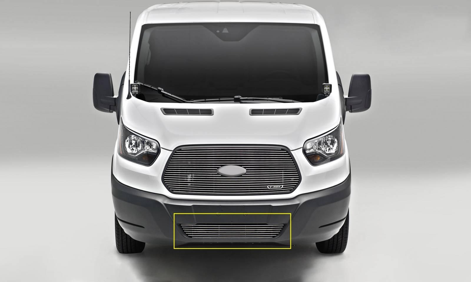 T-REX Grilles - 2016-2018 Ford Transit Billet Bumper Grille, Polished, 1 Pc, Overlay - PN #6255750