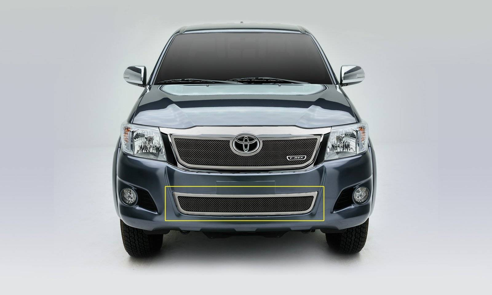 T-REX Grilles - 2012-2015 Toyota Hilux Upper Class Series Bumper Grille, Polished, 1 Pc, Overlay - PN #55909