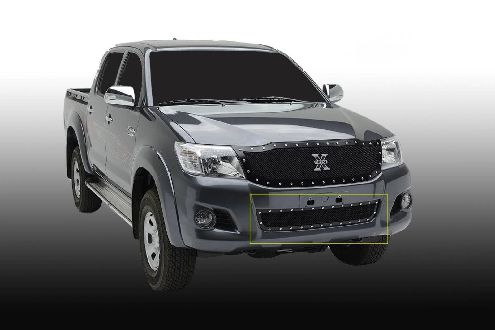 T-REX Grilles - 2012-2015 Toyota Hilux X-Metal Bumper Grille, Black, 1 Pc, Overlay, Chrome Studs - PN #6729091