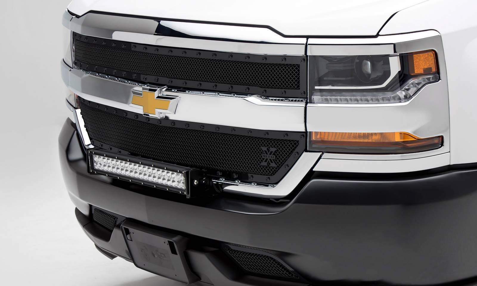 T-REX Grilles - 2016-2018 Silverado 1500 Stealth X-Metal Grille, Black, 2 Pc, Overlay, Black Studs - PN #6711281-BR