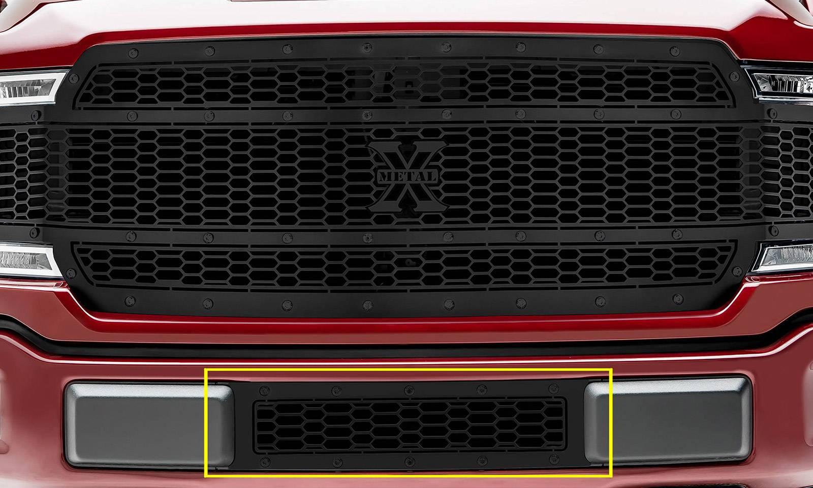 T-REX Grilles - 2018-2020 F-150 Limited, Lariat Stealth Laser X Bumper Grille, Black, 1 Pc, Overlay, Black Studs - PN #7725891-BR