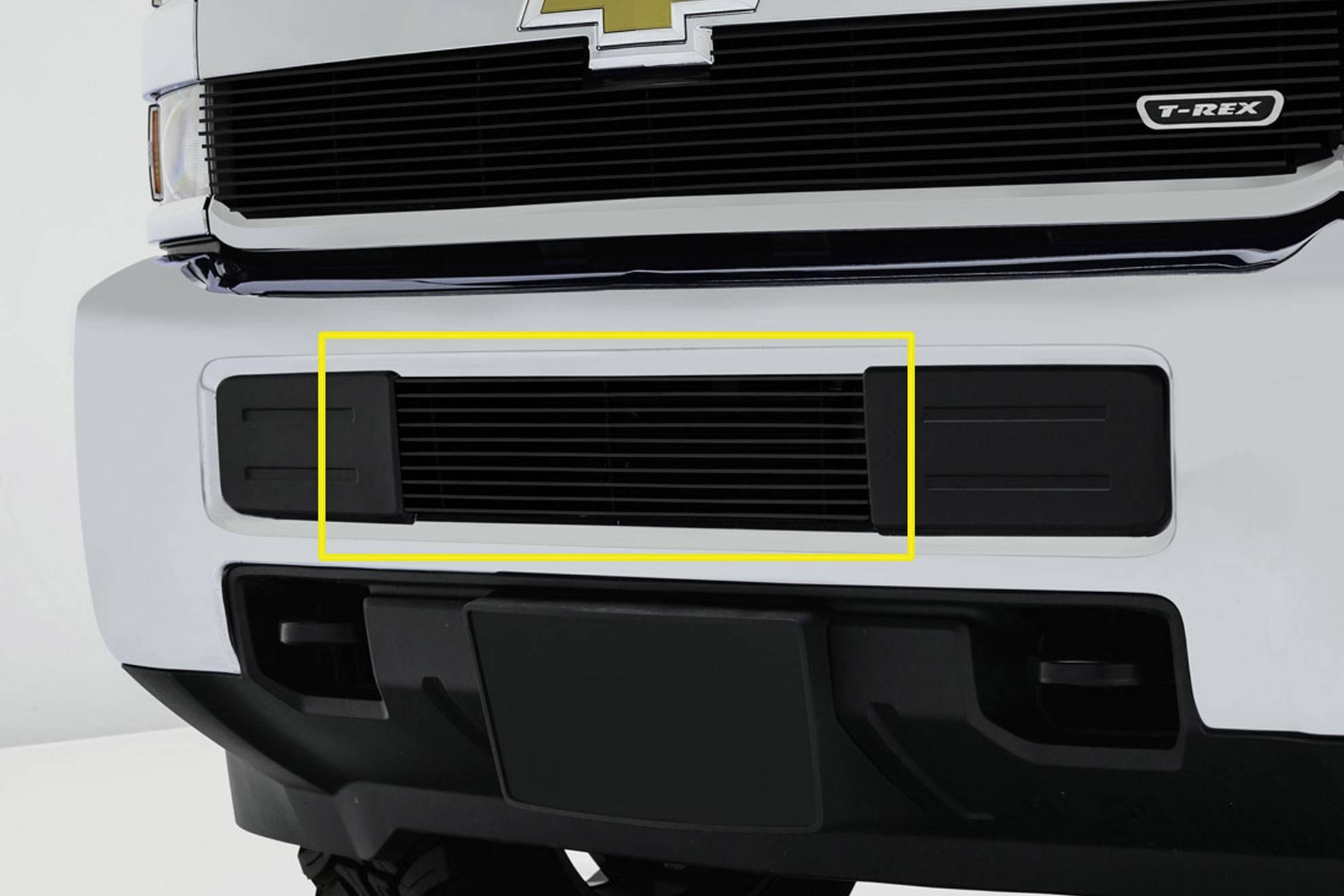 T-REX Grilles - 2015-2019 Silverado 2500, 15-17 3500 Billet Bumper Grille, Black, 1 Pc, Overlay - PN #25122B