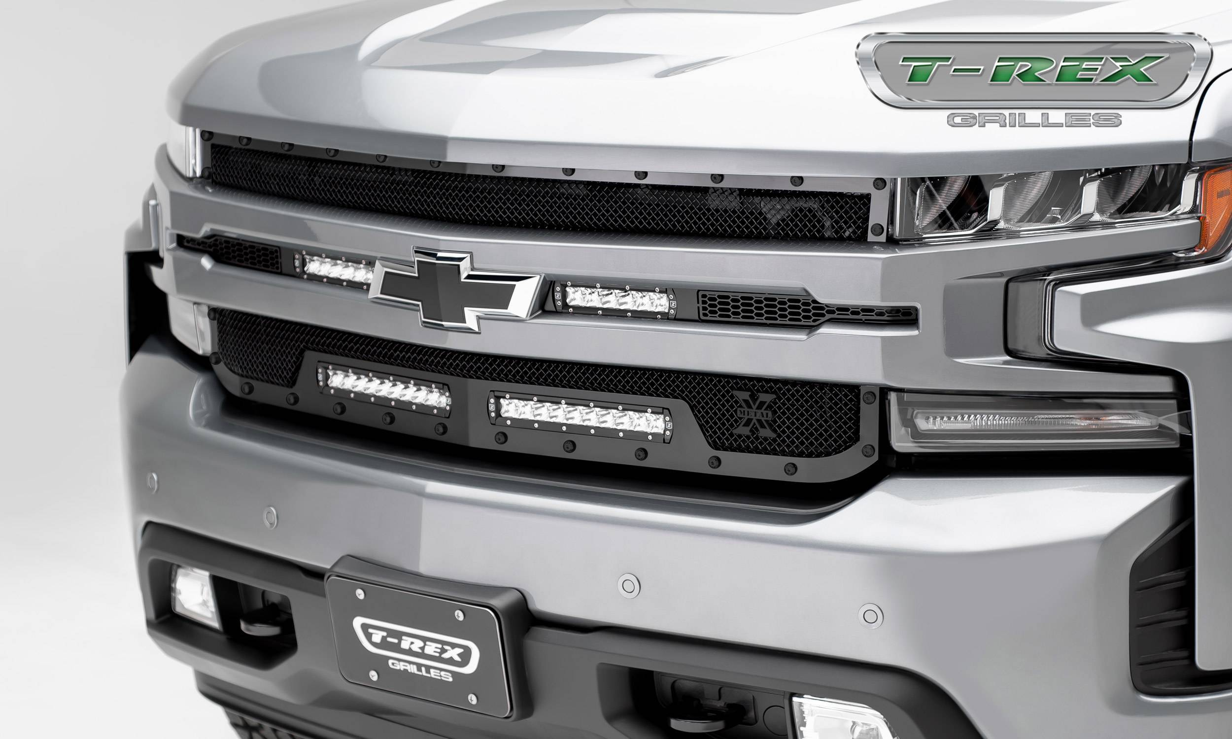 T-REX Grilles - 2019-2021 Silverado 1500 Stealth Torch Grille, Black, 1 Pc, Replacement, Black Studs with (2) 6 Inch and (2) 10 Inch LEDs, Does Not Fit Vehicles with Camera - PN #6311261-BR