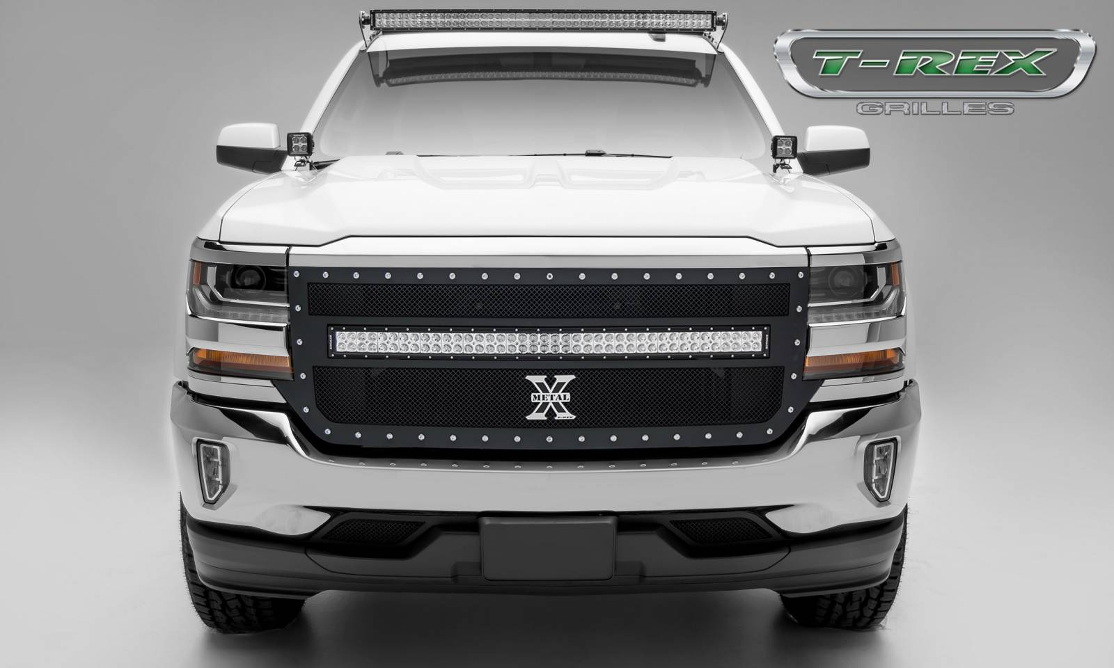 "T-REX Grilles - 2016-2018 Silverado 1500 Torch Grille, Black, 1 Pc, Replacement, Chrome Studs with (1) 40"" LED - PN #6311271"