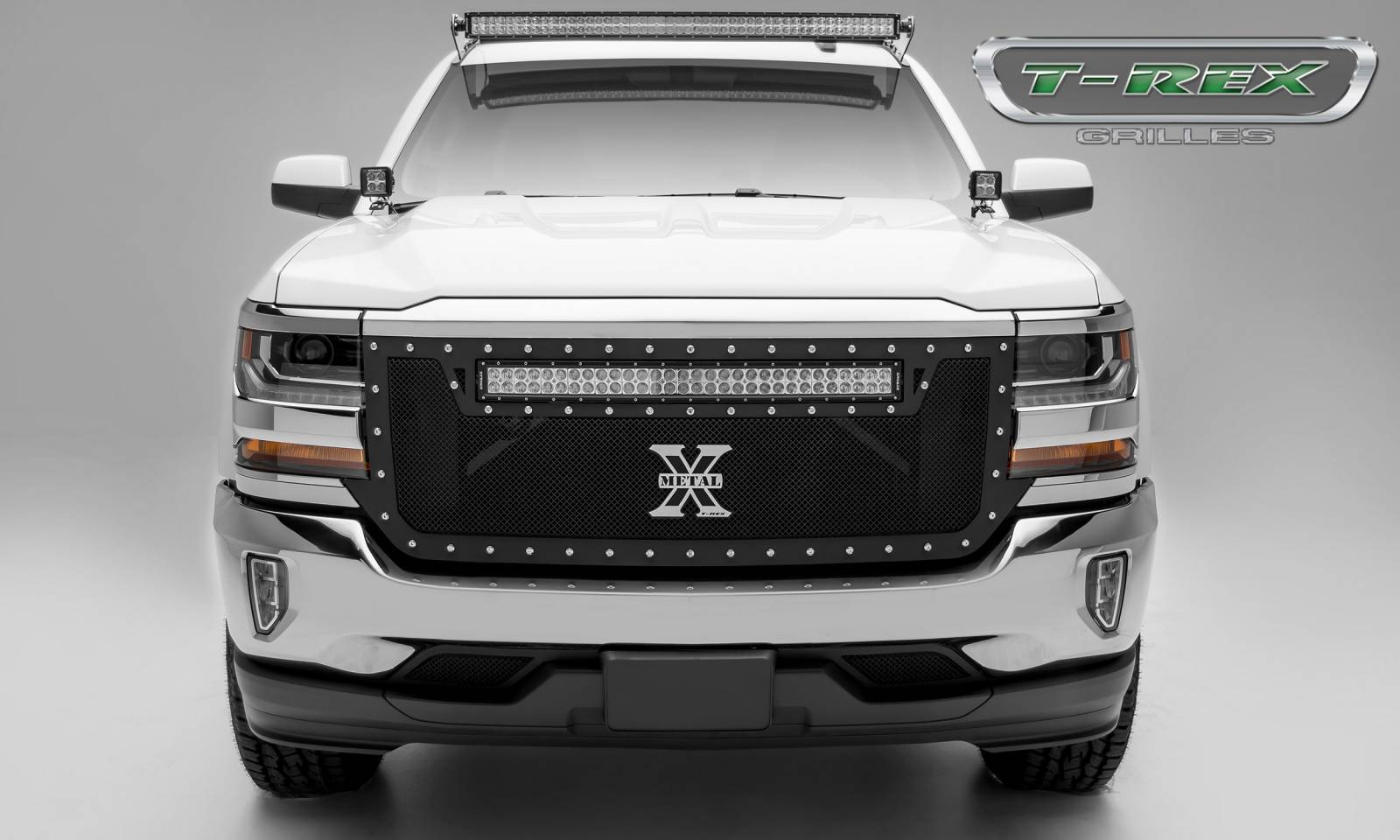 """T-REX Grilles - 2016-2018 Silverado 1500 Torch Grille, Black, 1 Pc, Replacement, Chrome Studs with (1) 30"""" LED - PN #6311281"""