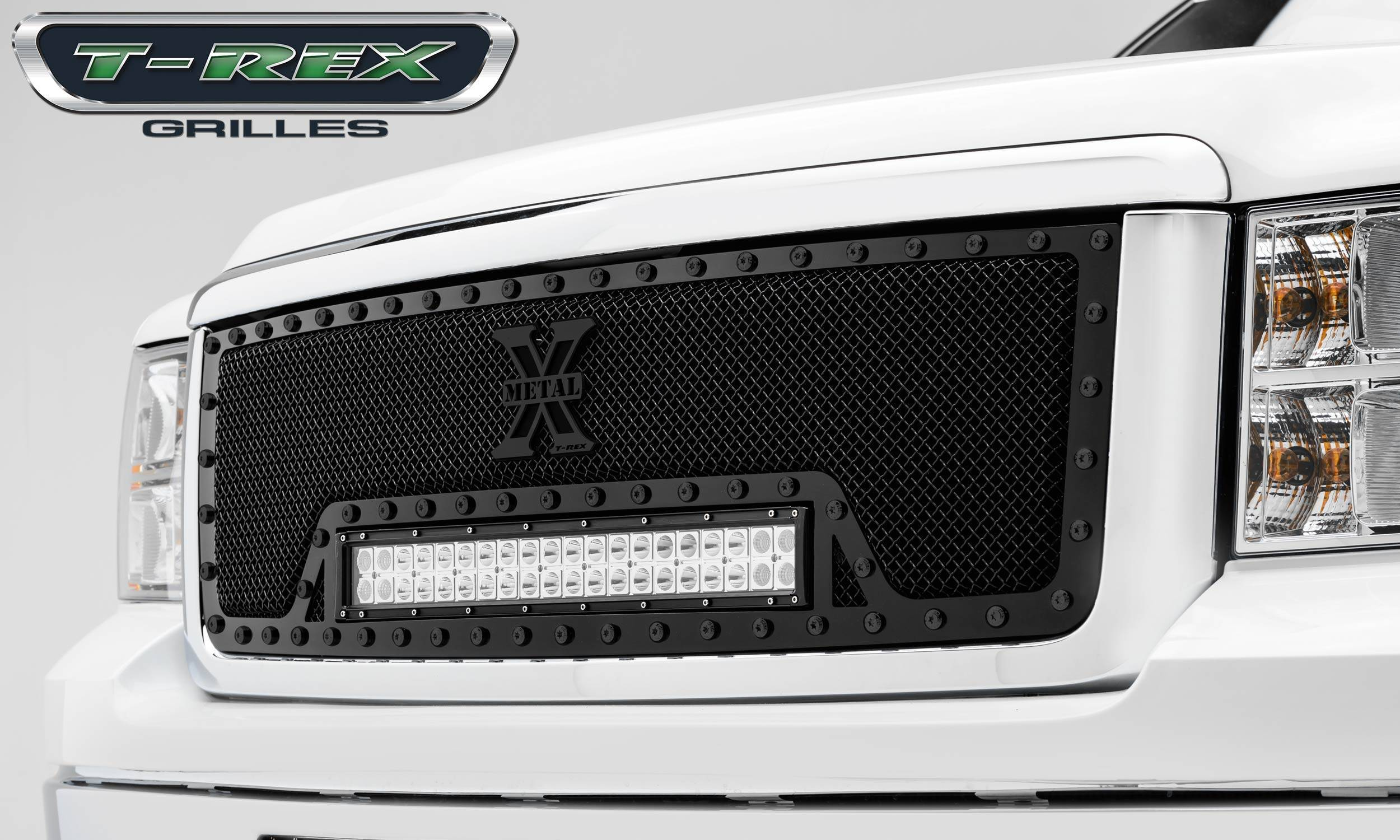 """T-REX Grilles - 2007-2013 Sierra 1500 Stealth Torch Grille, Black, 1 Pc, Insert, Black Studs with (1) 20"""" LED - PN #6312051-BR"""