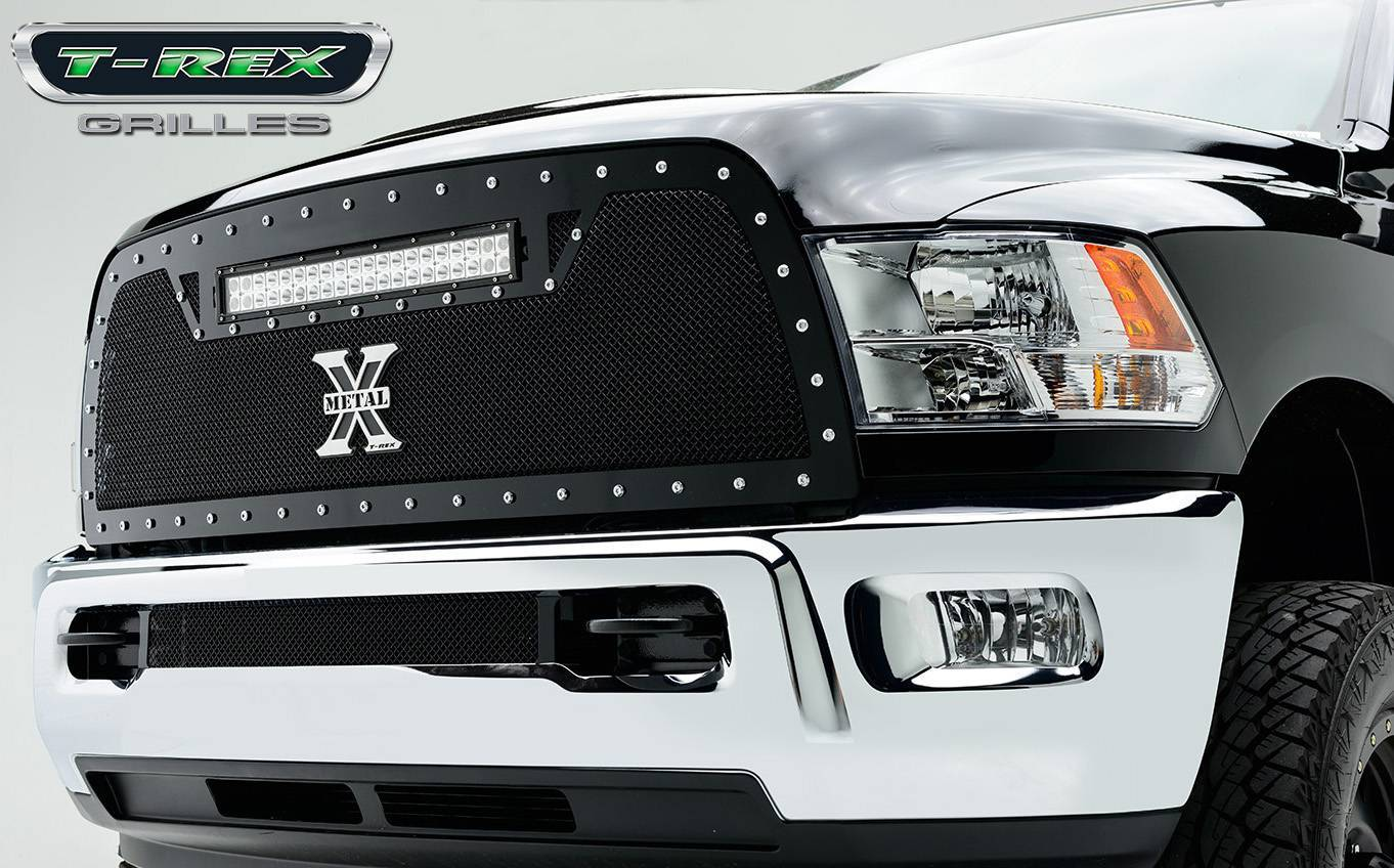 """T-REX Grilles - 2013-2018 Ram 2500, 3500 Torch Grille, Black, 1 Pc, Replacement, Chrome Studs with (1) 20"""" LED - PN #6314521"""