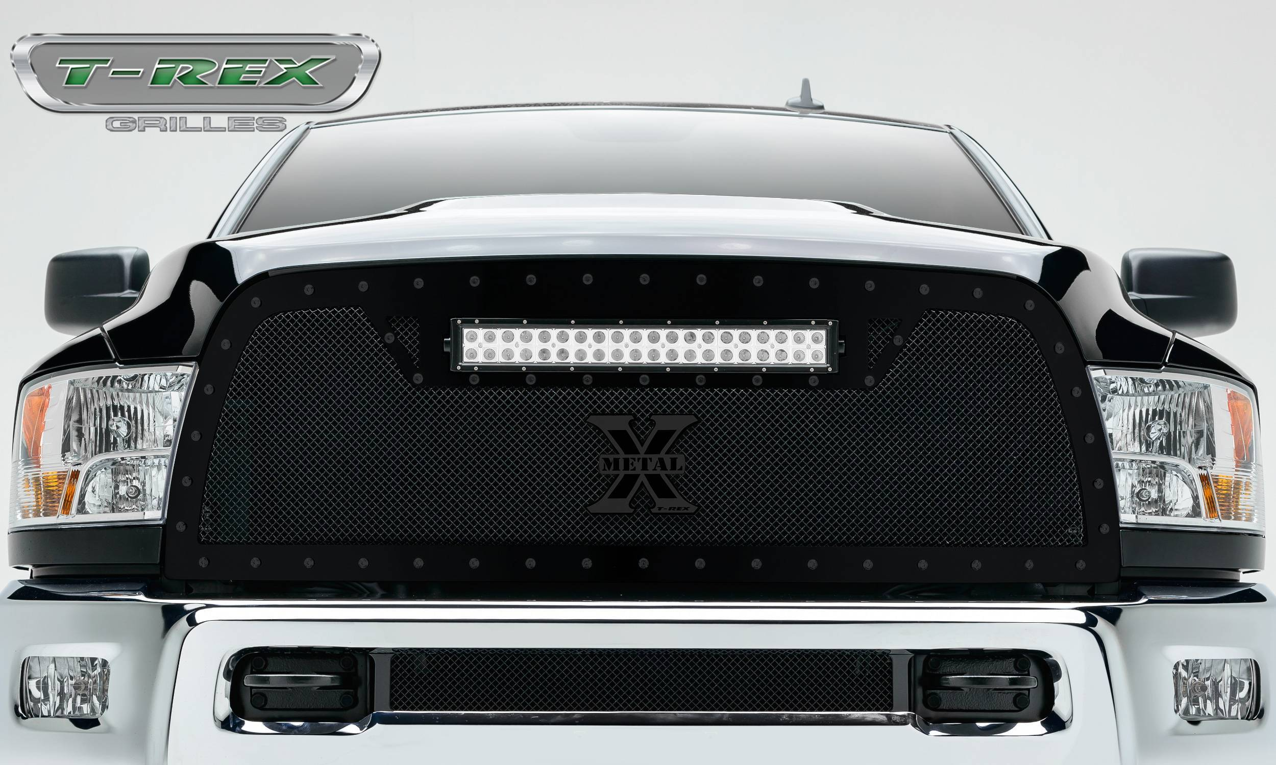 """T-REX Grilles - 2013-2018 Ram 2500, 3500 Stealth Torch Grille, Black, 1 Pc, Replacement, Black Studs with (1) 20"""" LED - PN #6314521-BR"""