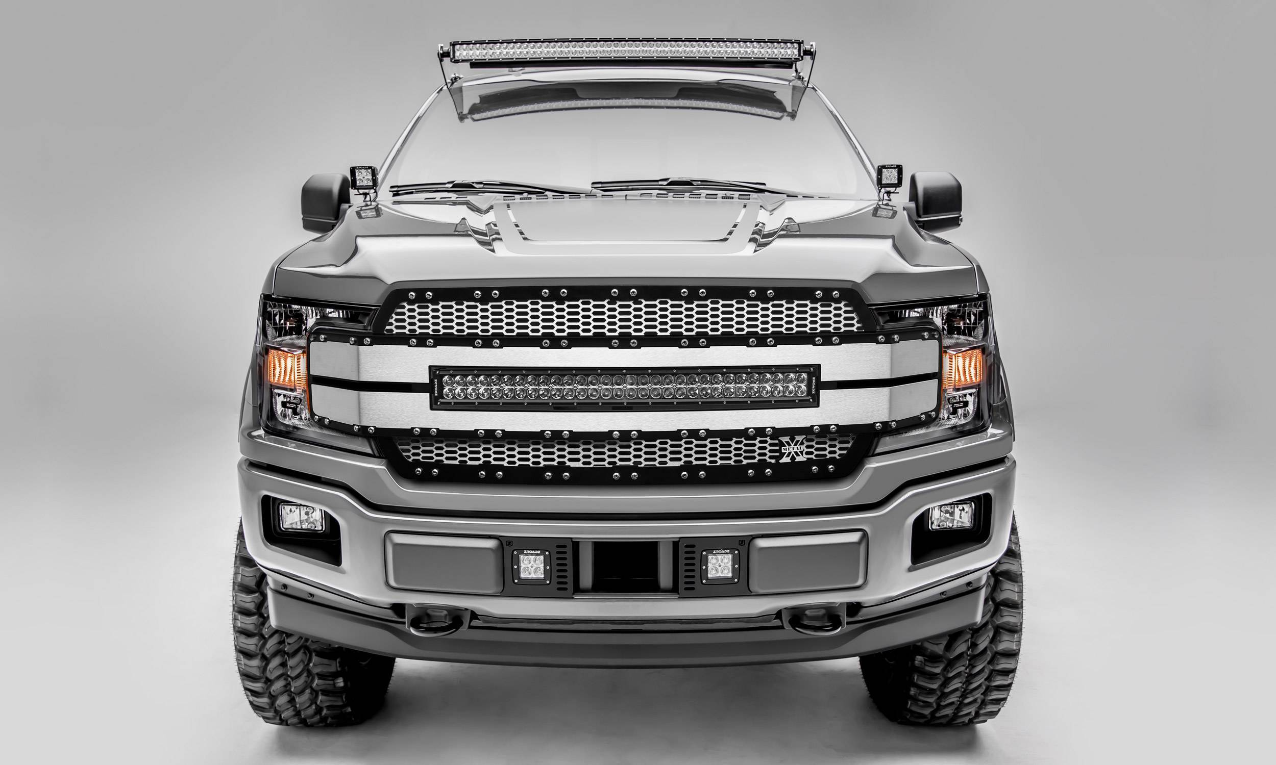 T-REX Grilles - 2018-2020 F-150 Torch AL Grille, Brushed Mesh and Trim, 1 Pc, Replacement, Chrome Studs with 30 Inch LED, Does Not Fit Vehicles with Camera - PN #6315785
