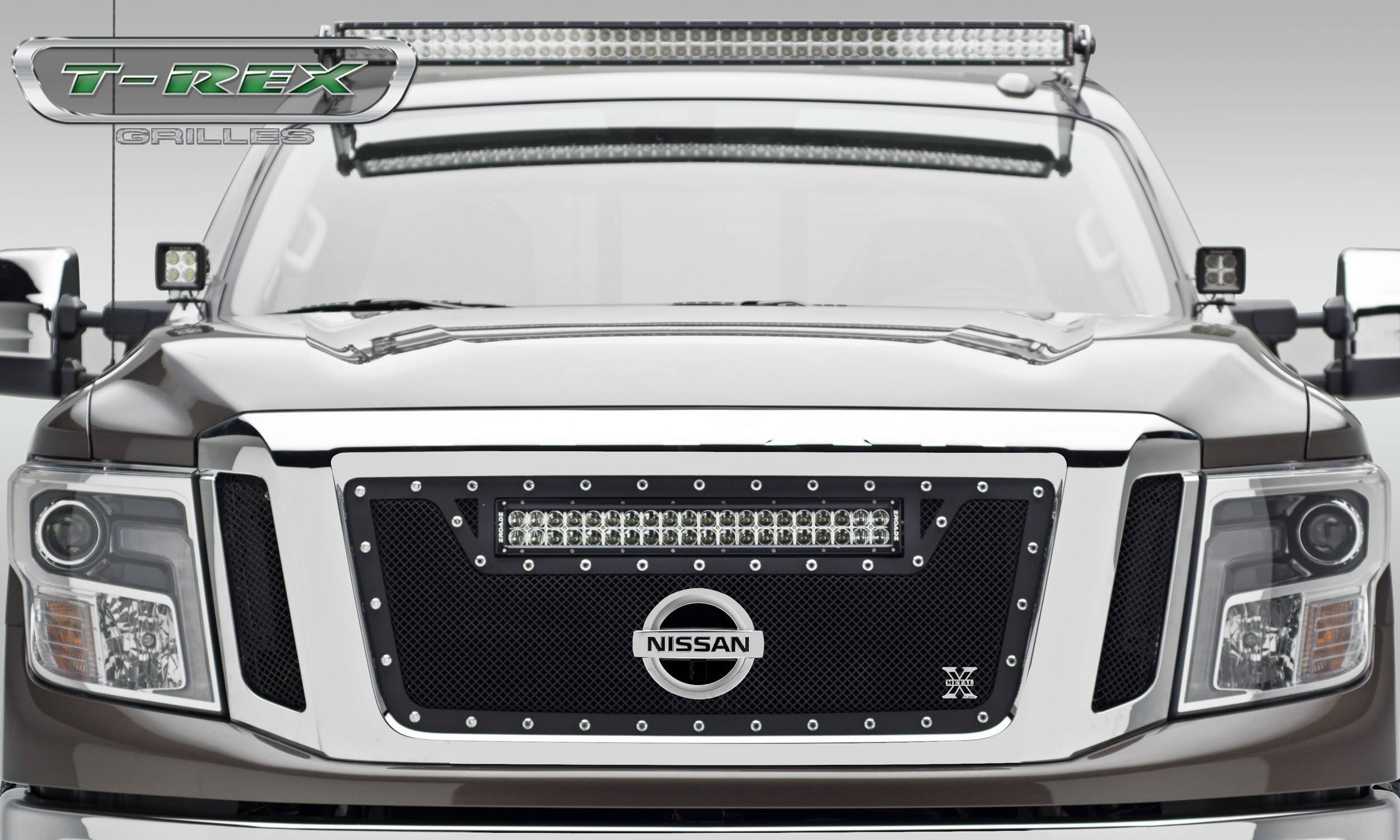 """T-REX Grilles - 2016-2019 Titan Torch Grille, Black, 3 Pc, Insert, Chrome Studs with (1) 20"""" LED, Fits Vehicles with Camera - PN #6317851"""