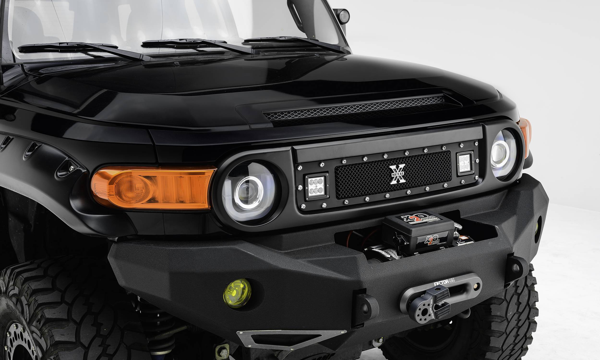 "T-REX Grilles - 2007-2014 Toyota FJ Cruiser Torch Grille, Black, 1 Pc, Insert, Chrome Studs with (2) 3"" LED Cube Lights - PN #6319321"