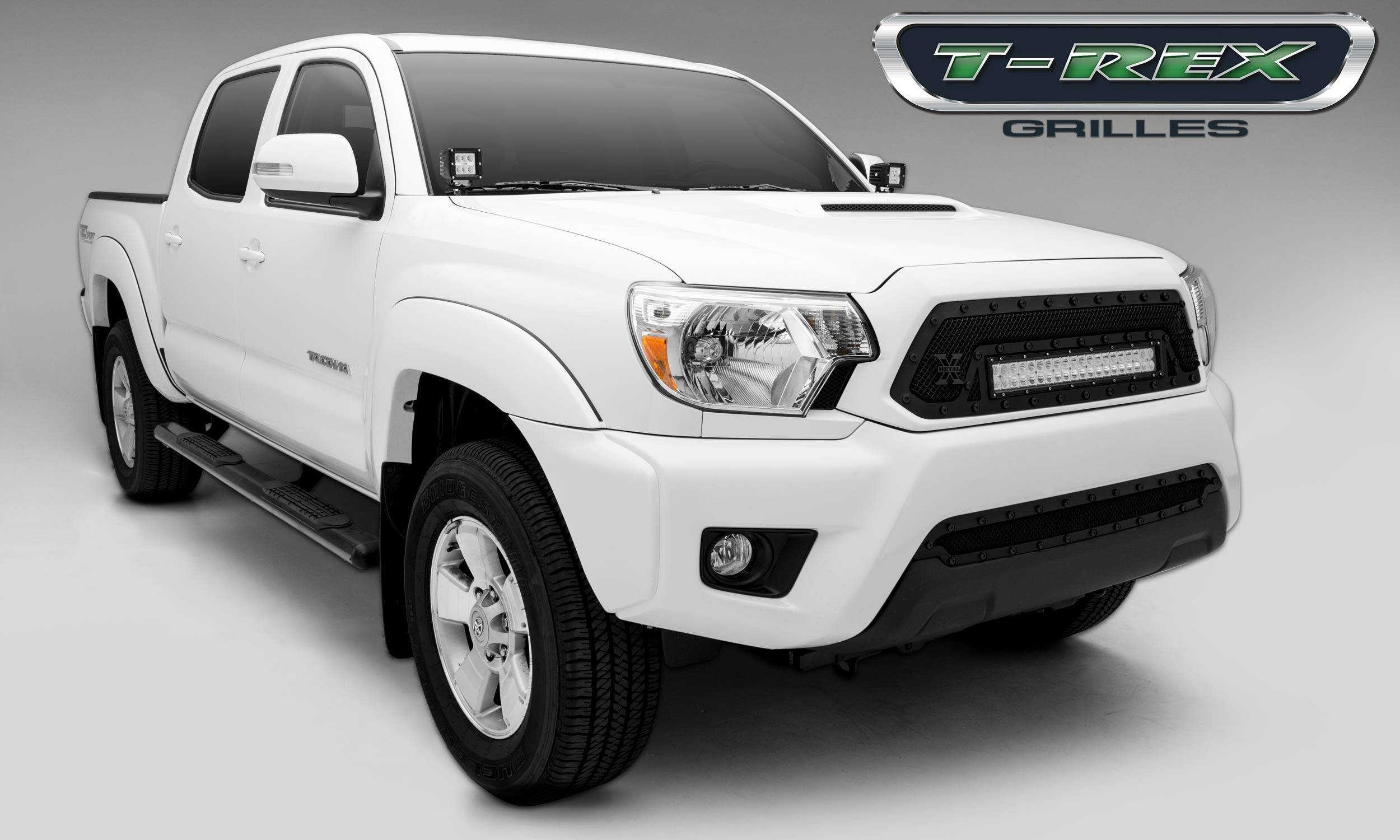 """T-REX Grilles - 2012-2015 Tacoma Stealth Torch Grille, Black, 1 Pc, Insert, Black Studs with (1) 20"""" LED - PN #6319381-BR"""