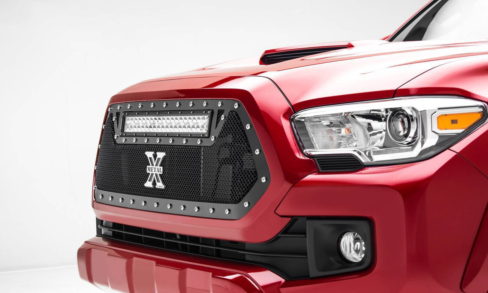 "T-REX Grilles - 2016-2017 Tacoma Torch Grille, Black, 1 Pc, Insert, Chrome Studs with (1) 20"" LED - PN #6319411"