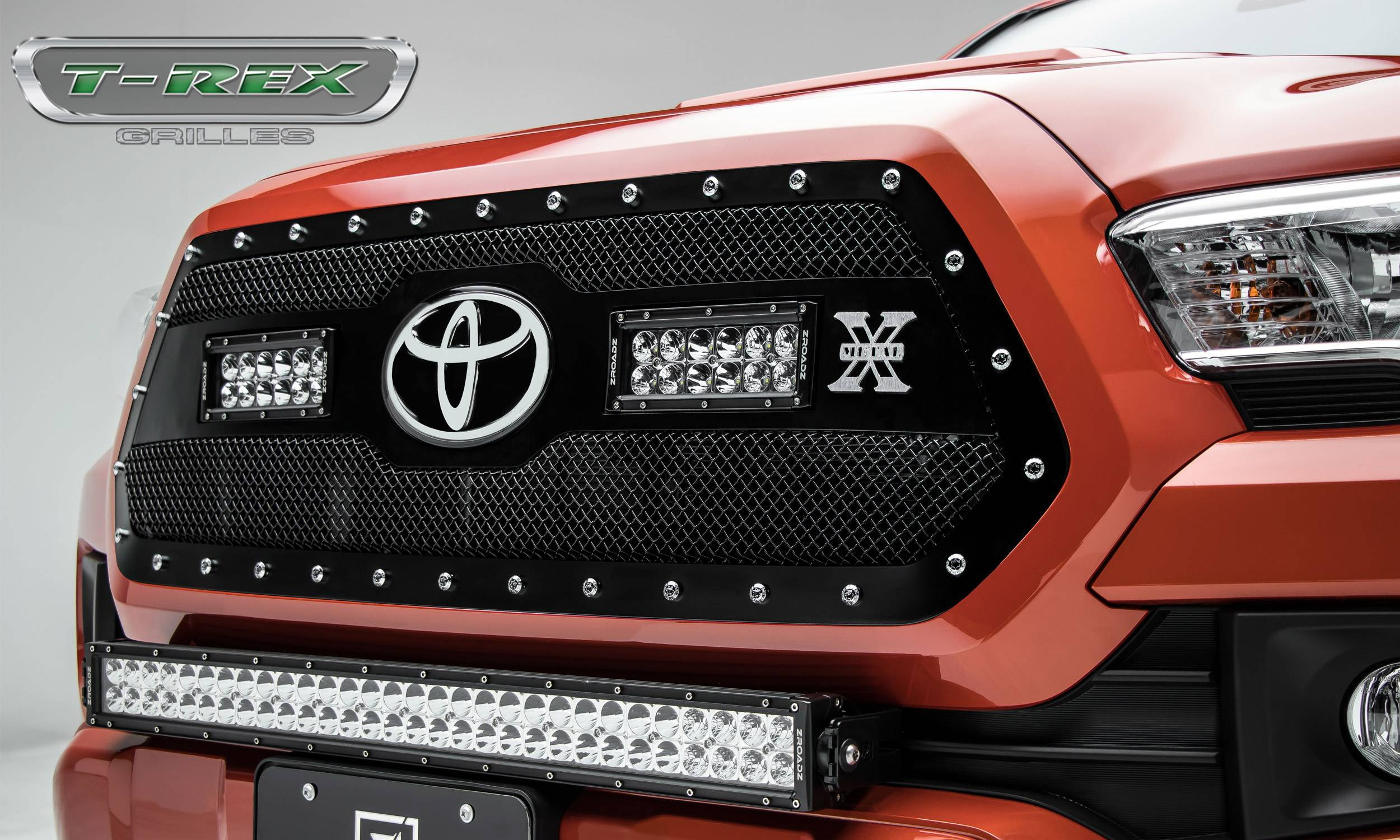"T-REX Grilles - 2018-2021 Tacoma Torch Grille, Black, 1 Pc, Insert, Chrome Studs with (2) 6"" LEDs, Does Not Fit Vehicles with Camera - PN #6319511"