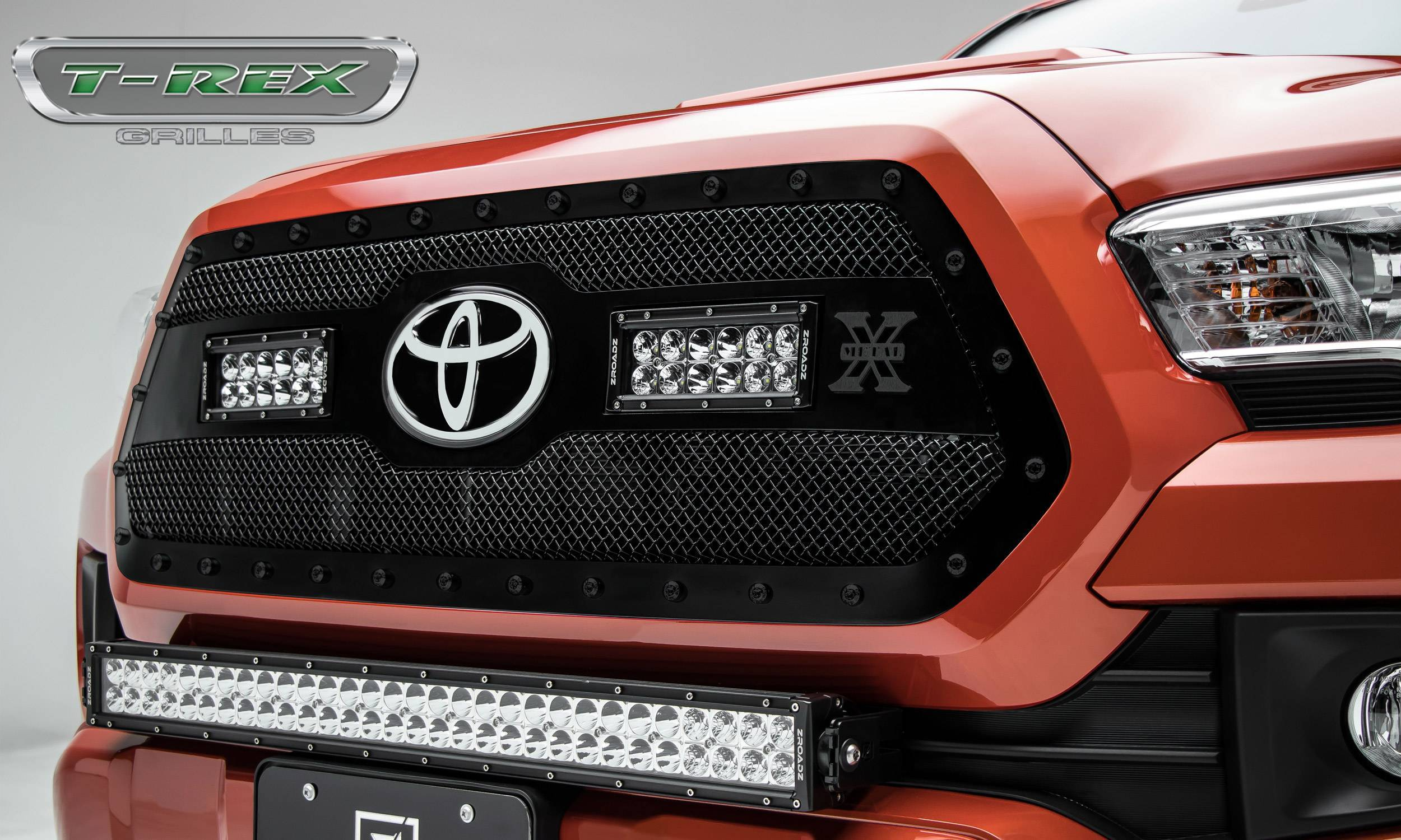 """T-REX Grilles - 2018-2021 Tacoma Stealth Torch Grille, Black, 1 Pc, Insert, Black Studs with (2) 6"""" LEDs, Does Not Fit Vehicles with Camera - PN #6319511-BR"""