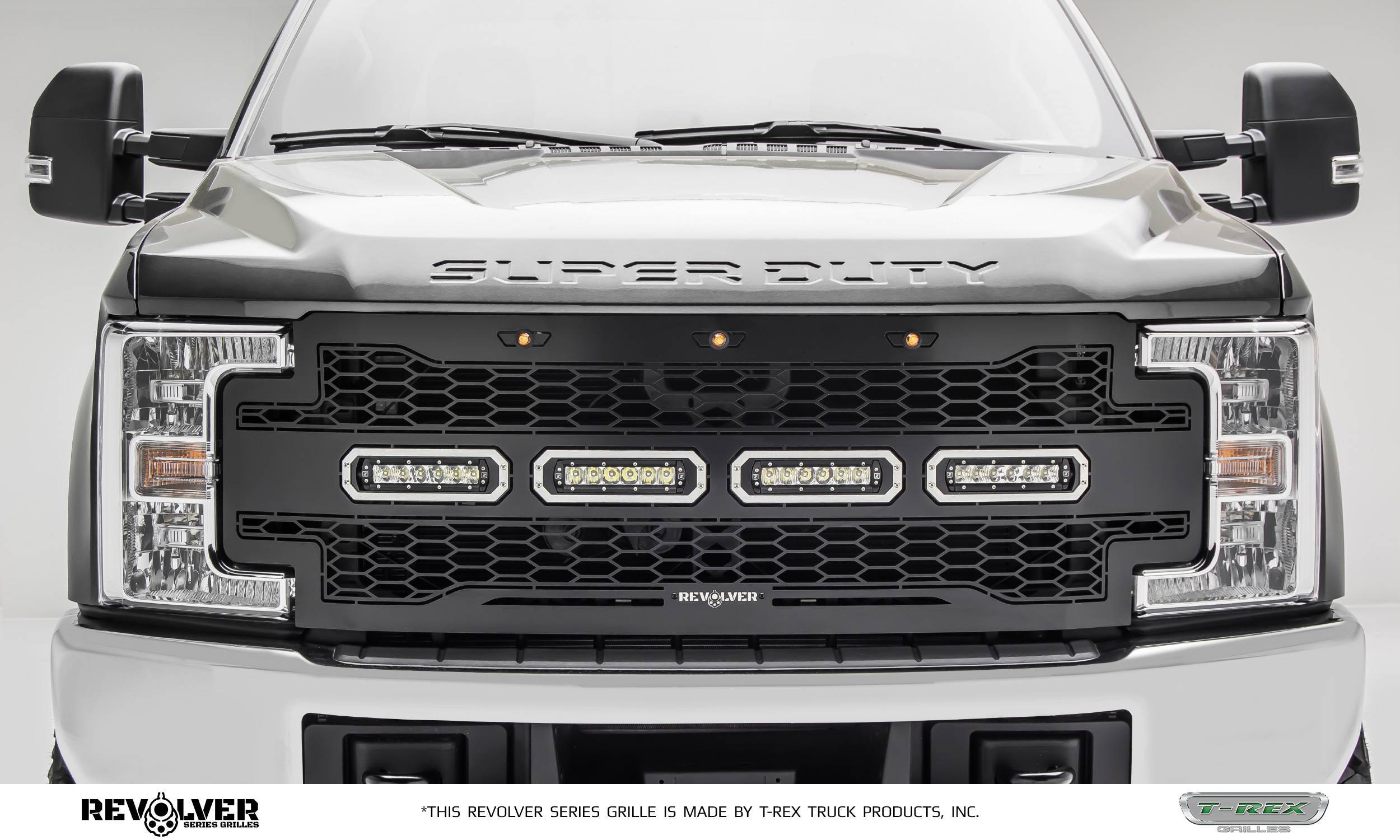 """T-REX Grilles - 2017-2019 Super Duty Revolver Grille, Black, 1 Pc, Replacement with (4) 6"""" LEDs, Does Not Fit Vehicles with Camera - PN #6515641"""