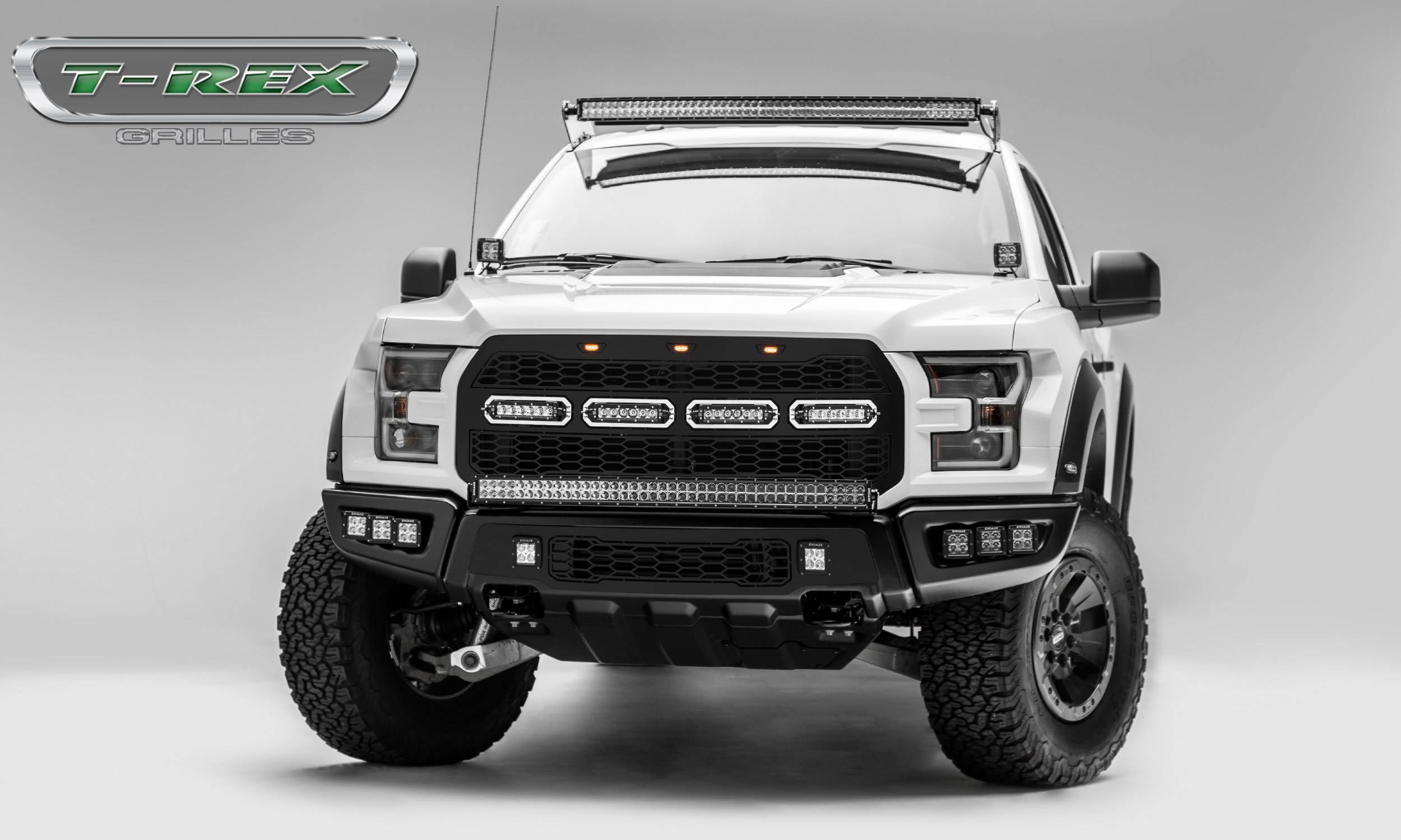 T-REX Grilles - 2017-2020 F-150 Raptor SVT Revolver Grille, Black, 1 Pc, Replacement with (4) 6 Inch LEDs, Does Not Fit Vehicles with Camera - PN #6515661
