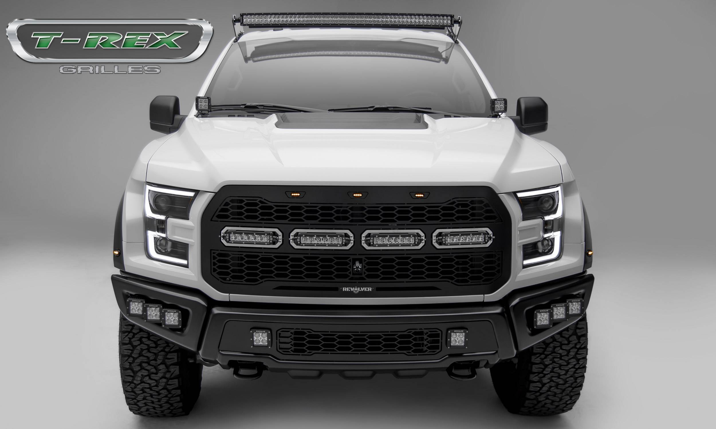 T-REX Grilles - 2017-2021 F-150 Raptor SVT Revolver Grille, Black, 1 Pc, Replacement with (4) 6 Inch LEDs, Fits Vehicles with Camera - PN #6515671