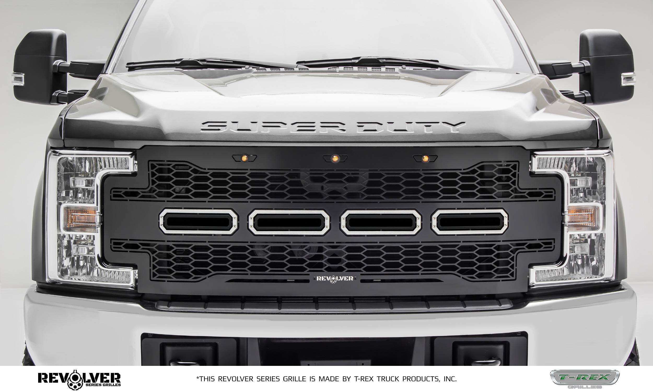 T-REX Grilles - 2017-2019 Super Duty Revolver Grille, Black, 1 Pc, Replacement, Does Not Fit Vehicles with Camera - PN #6515711