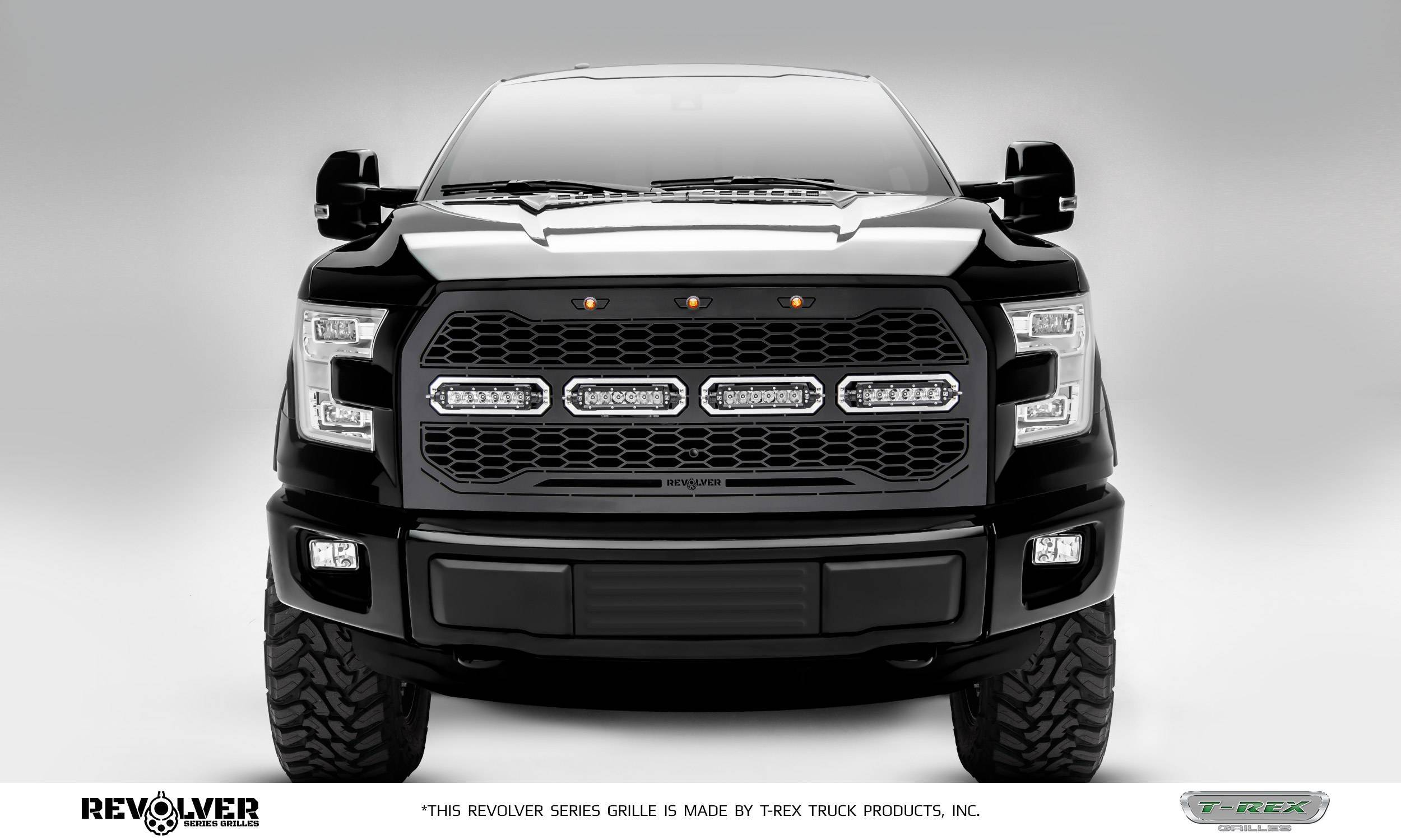 "T-REX Grilles - 2015-2017 F-150 Revolver Grille, Black, 1 Pc, Replacement, Chrome Studs with (4) 6"" LEDs, Fits Vehicles with Camera - PN #6515741"